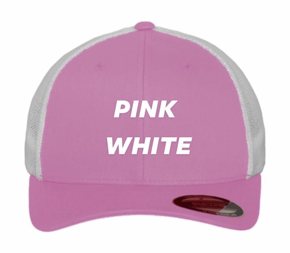 Flexfit trucker pink white