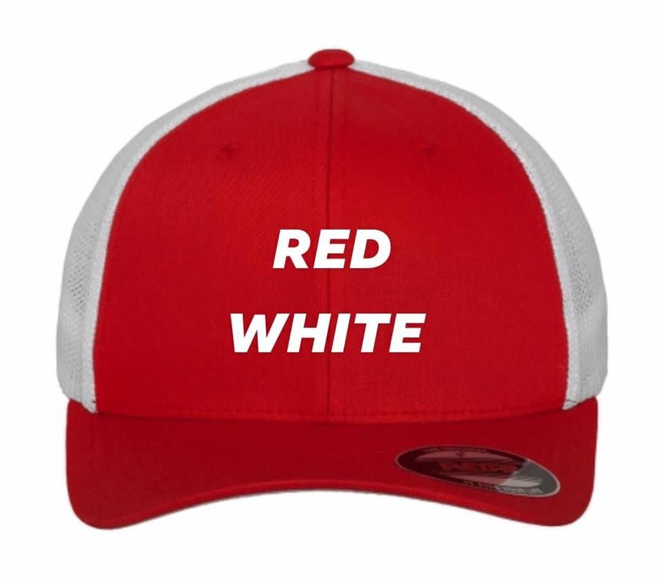 Flexfit trucker red white
